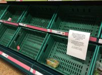 Empty UK supermarket shelves